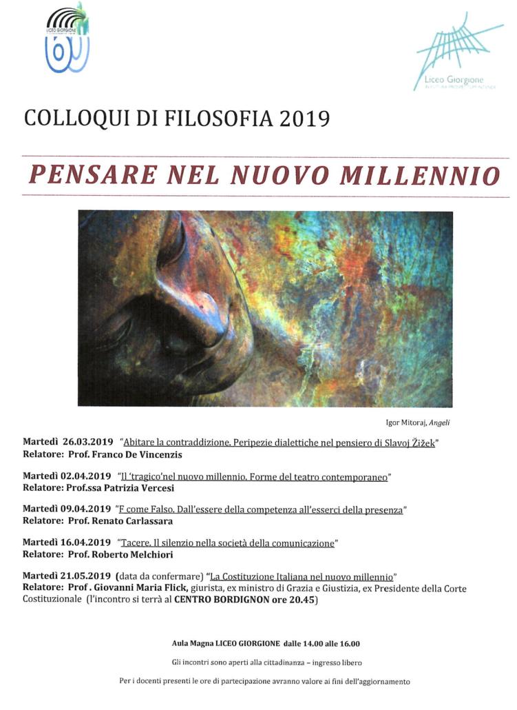 Locandina COlloqui di Filosofia 2019